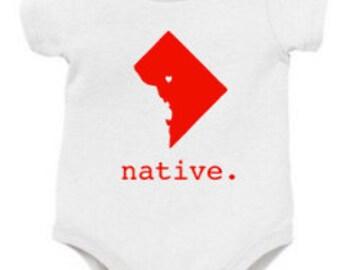 Washington DC Baby Onesie, DC Baby Onesie, Washington Baby Onesie, Native Onesie