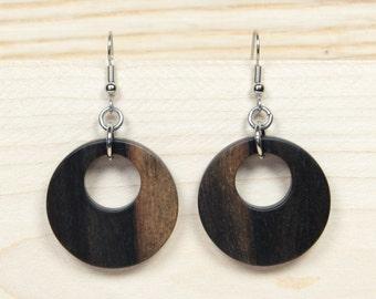 Wooden Hoop Earrings, Creole Earrings, Round Earrings, Black Earrings, Wooden Earrings, Wooden Drop Earrings, African Blackwood Earrings