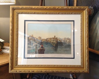19th Century Framed Lithograph Print of Rome by Felix Benoist of Isle De St. Barthelemy, Rome, Italy