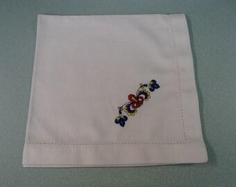 Set of 6 Embroidered White Napkins - Porsgrund Farmers Rose OR Hearts & Pines God Jul