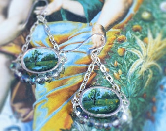 Miniature Painted Landscape Earrings, Miniature Painting, Hand Painted Jewelry