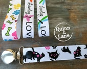 Universal Pacifier Clips YOU CHOOSE - Soothie MAM Nuk Gumdrop Soother Clips - Pacifier Holders - Black Cats Pawprints Dog Bones Dragonfly