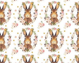 Floral Bunny Changing Pad or Sheet or Boppy or Cloud Blanket or Swaddle Blanket or Receiving Blanket | Nursery Bedding | Baby Bedding | Ship