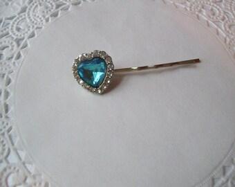 Heart Hair Pin (239) - Blue Heart Hair Pin - Rhinestone Heart Hair Pin - Jeweled Hair Pin - Recycled Jewelry