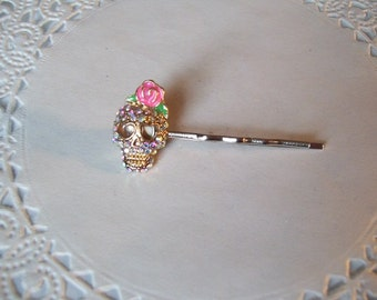 Rhinestone Skull Hair Pin (254) - Day of Dead Hair Pin - Skull Hair Pin - Recycled Jewelry
