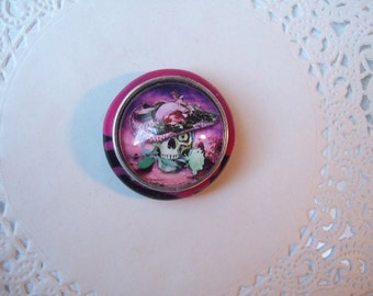 Skull Magnet (559) - Pink Skull Refrigerator Magnet - Day of the Dead Skull - recycled jewelry