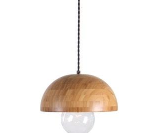 Bamboo Wood Dome Pendant Light