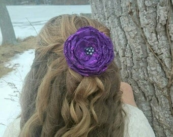 Purple Glitter Fabric Hair Barrette~Melted Flower Clip ~ Pearl Accessory
