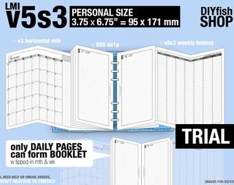 Trial [PERSONAL v5s3 w ds5 do1p] November to December 2017 - Filofax Inserts Refills Printable Binder Planner Midori.