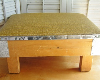 Vintage Retro Kitch OOAK Hand Made Wood Chrome and Vinyl Footstool Ottoman Mid Century Decor Dated 1968