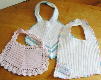 3 Vintage Handmade All Cotton Crochet Crocheted Baby Bibs Circa 1940s Doll Bibs Instant Collection Handmade Baby Bibs