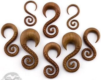 "Wooden Snake Spiral Hangers Plugs - Sizes / Gauges (8G - 3/4"")"