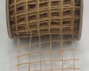 "4"" Net Natural Burlap Ribbon - 10 Yards"