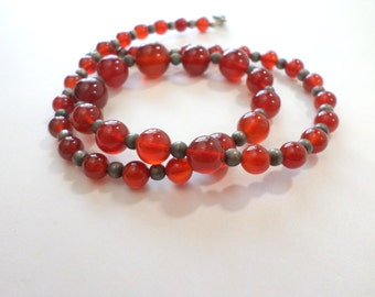 Red Agate Necklace Sterling Silver 18 Inch Natural Carnelian Agate Gemstone Bead Necklace Vintage Jewelry