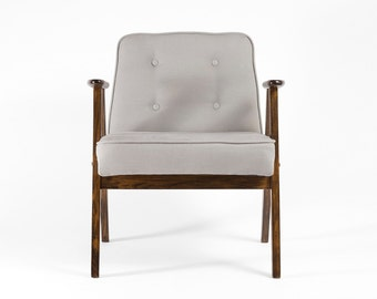 Restored dusty blue MCM chair from 1960s