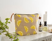Screen Printed Linen Wash Bag - Lemons Fruit Yellow - Make Up Bag / Toiletries