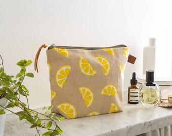 Screen Printed Linen Wash Bag - Lemons Fruit Yellow - Make Up Bag / Toiletries