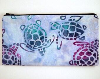 Light Blue Batik Turtle Zipper Pouch, Make Up Pouch, Pencil Pouch, Gadget Bag, Pencil Case, Blue Batik Clutch, Blue Purse