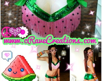 Watermelon Fringe Design, Bra Costume Top Rave Bra Sequin Custom Rhinestone