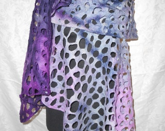 Handmade hand dyed cobweb felted wool shawl/scarf plum/pink/grey/black OOAK ART