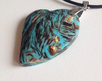 13: Blue Heart Shaped Sea Sediment and Gold Copper Bornite Stone Pendant Necklace - Sea Sediment Jasper - Gold Copper Bonite Pendant