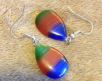 Colorful Unique Cat's Eye Dangle Earrings - Blue Cat Eye Dangle Earrings - Orange Cat Eye Dangle Earrings - Green Cat Eye Dangle earrings