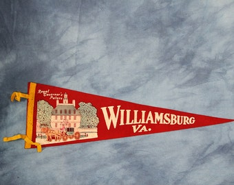 Vintage Williamsburg Virginia Pennant, Colonial Williamsburg