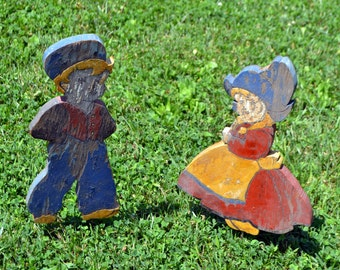 Vintage Dutch Boy and Girl Lawn decor/painted wood//garden accessory