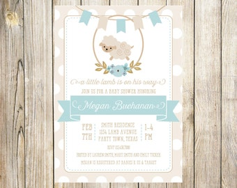 Little Lamb Baby Shower Invitation in Blue