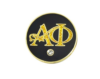 Alpha Phi Black & Gold Greek Letter Golf Ball Marker with Magnetic Hat Clip