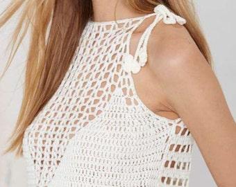 Mermaid White/ivory crochet lace crop top/bikini top, crossed back, boho/indie/Bohemian/beach/honeymoon/bridal/festival