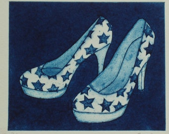 Original Collagraph Print - Ladies Platform Shoes in blue and decorated with stars