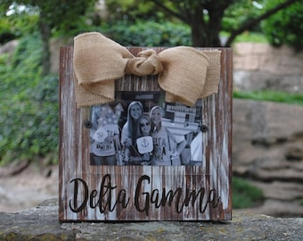 Delta Gamma Whitewashed Rustic Frame
