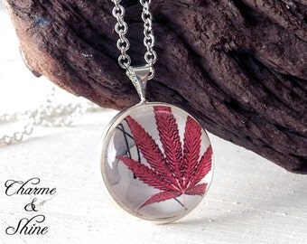 Maple Leaf Necklace, Glass Dome Necklace, Photo Jewelry, Autumn Leaf Pendant