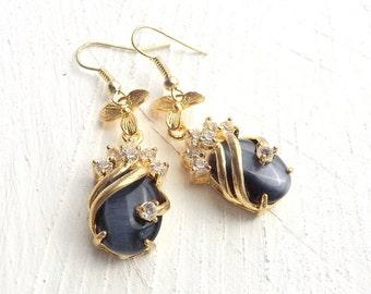 Cateye Earrings, Cats Eye Earring, Shimmering Earrings, Cateye Jewelry, Elegant Earrings