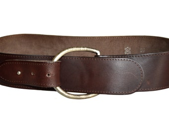 Vintage brown real leather belt metal 85