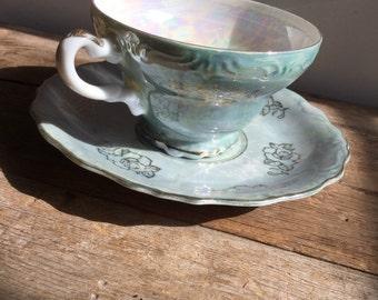 Blue Rose Opalescent Luster Tea Cup  Saucer Set