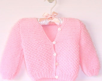 Vintage baby sweater, pink knit with five buttons, size 0-3