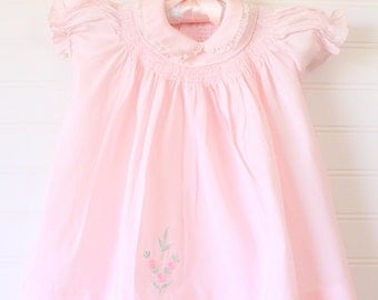 Vintage baby dress. Gorgeous antique pink dress with smocking, hand embroidered, No name for 3-6 Mo
