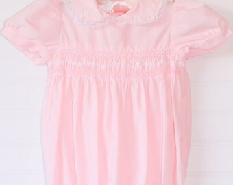 Vintage pink baby romper with smocking, No Name romper for 6-9 Mo