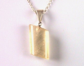 Yellow Calcite Necklace, Tube Pendant, Calcite Necklace With Sterling Silver Necklace