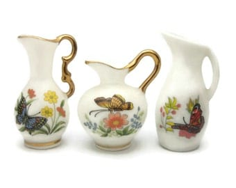 Miniature Bone China Butterfly Vases Pitchers Ewers Made in Japan Set of Three 3 Porcelain Collectible Miniatures Floral Flowers Butterflies