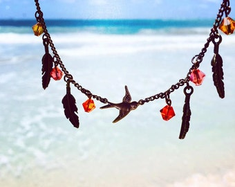 Bird of a Feather Necklace ((Red/Amber))