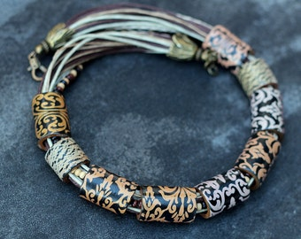 necklace made of polymer clay Mokume gane vintage