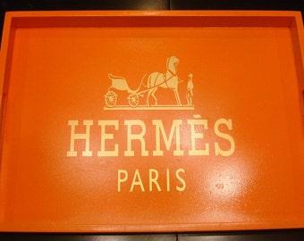 Hermes Inspired Large Orange Wood Tray