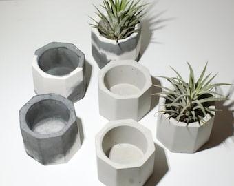 Concrete Planters/ Air Plant Holder/Succulent Planter/Gray Planters/Wedding Favor/Home Decor/Concrete planters/Marble planters/Gift for her
