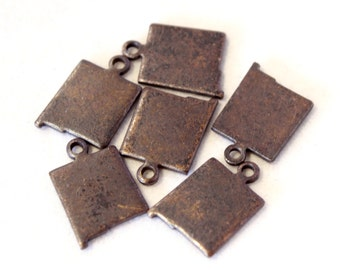 6x Antique Brass / Brown Patina Blank New Mexico State Charms - M073/AB-NM