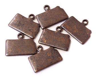 6x Antique Brass / Brown Patina Blank Kansas State Charms - M073/AB-KS