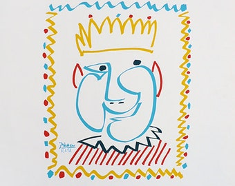 PABLO PICASSO - 'The king' - large hand numbered lithograph - c1983 (limited edition. Mourlot, Paris)