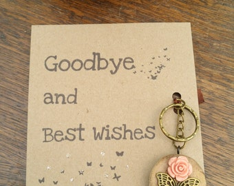 Goodbye and Best Wishes butterfly keyring*unique*driftwood*leaving present*greeting card*keychain*gift*moving house*teacher gift